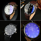 Unisex  Men Women Band Dial Analog Quartz Fashion Faux Leather Wristwatches