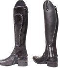 Xtreme Black Leather and Suede Gaiters with Silver Reflective Piping