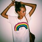 Rainbow Print Women White Top T-shirt Blouse Tops Tee Short Sleeve O Neck