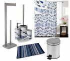 Acqua Range Blue / White Multi Bathroom Accessories Set Soap Dispenser Soap Dish