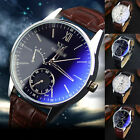 Roman Numerals Faux Leather Band Analog Quartz Men Women Wrist Watch