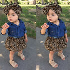 3PCs Toddler Baby Girls Denim Tops Shirt +Leopard Dress Kids Clothes Outfits Set