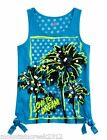 New JUSTICE Girl's Shirt Size 6 PALM TREE Sequin Side Tie Tank Top Blue Kid