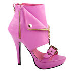 Punk Stud Buckle High Heels Stilettos Pump with Zip Platform Bootie Sandal Pink