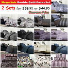 2 SETS of 3 Pce DOUBLE Quilt Doona Cover + Std Pillowcases CLEARANCE MEGA SALE