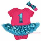 Birthday 1ST Pink Bodysuit Bling Peacock Blue Fish Scale Girl Baby Dress NB-18M