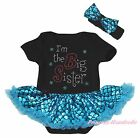 I M THE Big Sister Black Bodysuit Bling Peacock Blue Fish Scale Baby Dress 0-18M