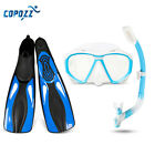 Copozz Pro Snorkeling Purge Valves Mask Tube Long Fins Set Scuba Diving Gear Kit