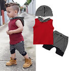 Cute Toddler Kids Baby Boy Hooded Vest Tops+Short Pants 2pcs Outfits Clothes Set