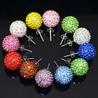6mm-14mm Multi-colors Disco Rhinestones Crystal Ball Earrings