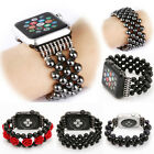Jewelry Beaded Black Agate Bracelet Strap Band For Apple Watch Series 1 2 38/42