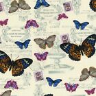 "100% Cotton Canvas Fabric - Butterflys - Ivory - 44"" Width - 0008"