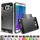 Slim Shockproof Rubber ID Card Slot Case Cover For Samsung Galaxy Note 5 4 3