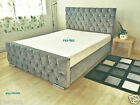 Fabric Bed Frame Crystal Diamonte's All Colours 4ft6 5ft Double King Size