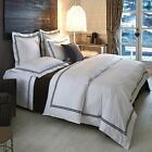 NEW FRETTE Hotel Classic collection White Black Bourdon Cal KING BED SKIRT image