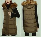 Zara Long Quilted Puffer Waistcoat Anorak Jacket Hooded Fur Coat All Sizes New