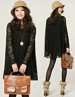 Fashion Women's Ladies Long-sleeved Lace Dress Bottoming Summer Hollow Skirt