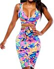 Uget Women's Crop Top Midi Skirt Outfit Two Piece Bodycon Ba