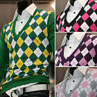 Mens Dandy Modern V-neck Argyle Sweater Cardigan Knit Vest Jumper Jacket Top S/M
