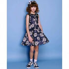 Monnalisa - Girls Abito Honeycomb Neoprene Dress with a Rose Pattern Print
