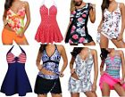 Ladies Plus Size Swimming Costume One Piece Skirt Cover Up Tummy Control 10- 26