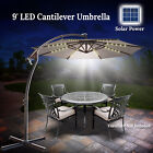 9/10' Cantilever Solar LED Patio Umbrella Garden Sunshade Outdoor Parasol w Base