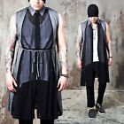 NewStylish mens casual fashion tops Contrast see-thru front Y collar long vest