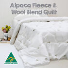 Australian Made Luxury 500gsm Winter Weight Alpaca Fleece Wool Blend Quilt/Duvet