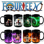 Anime Coffee Cup Mug One Piece Luffy Zoro Ace Hot Changing Color Heat Magic Gift