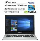 """2016 Asus K Series 14"""" Ultra Slim 1920 x 1080 Full HD Non-Touch Laptop, Intel Co"""