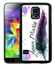 PERSONALIZED RUBBER CASE FOR SAMSUNG NOTE 5 4 3 FEATHER WATERCOLOR PURPLE TEAL