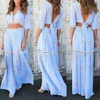 Summer Beach Women Evening Party Dress Maxi Long Skirt Crop Top Two Piece Set