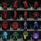 Batman Iron Man Deadpool 3D LED 7 Colour Night Light Desk Table Art Lamp Gift