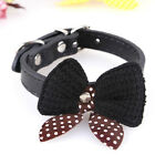 Adjustable Bowknot PU Leather Dog Puppy Pet Cat Collar Necklace Buckle Neck Lace