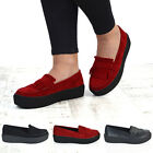 NEW WOMENS SLIP ON PLATFORM LADIES GOTH PUNK FASHION TASSEL CREEPERS SHOES