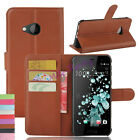Premium Retro Leather Wallet Card Holder Flip Stand Case Cover For HTC U Play