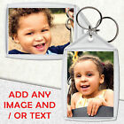50 PERSONALISED PHOTO KEYRING CUSTOM GIFT LARGE SIZE 50mm x 35mm 2 SIDED ACRYLIC