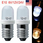 2/10Pcs E10 LED Screw Base Indicator Bulb 6-24V Illumination Lamp Lights White