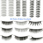 Makeup 10Pairs Natural Long Fake Eye Lashes Handmade Thick False Eyelashes Black