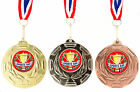 10 x Silver Gold or Bronze School Sports Day Medal on Ribbon, Wreath Design