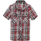 Brandit Roadstar Cotton Checked Flannel Top Mens Short Sleeve Hiking Shirt Red