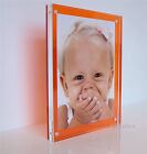 """Acrylic orange desk block magnetic picture photo frame for a 7x5"""" all colours"""
