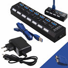 4/7 Ports USB 3.0 Hub Powered with On/Off Switch Power Adapter Cable Extender PC