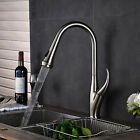 Deck Mounted Brushed Nickel Kitchen Faucet Pull Out Spout Single Handle Tap