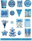 80 / 80th Birthday Blue Glitz Party Range - Party/Plates/Napkins/Banners/Cups
