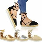 Womens Ladies Lace Tie Up Strappy Flat Sandals Espadrilles Summer Shoes Size 3-8