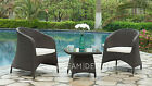 2 Chair & Glass Table Garden Furniture Rattan Set Outdoor Patio Conservatory Set