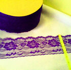 AS LOW AS .30 per yd !! NICE QUALITY 4-inch FLAT RASCHEL LACE - PURPLE or RED