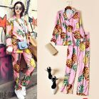 2017 Occident pineapple printing Wide leg pants High-end silk pajamas Suit