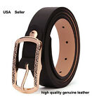 Womens Genuine Leather with Printed Buckle Waist Fashion Belts Gift top #VB013